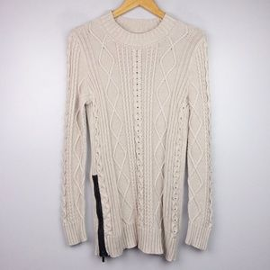 Banana Republic Cable-knit Side Zip Beige Sweater